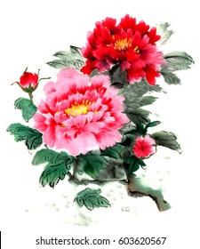 Chinese brush and ink traditional peony flowers