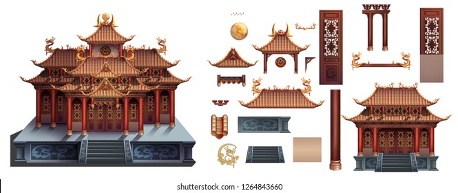 Chinese building split material palace