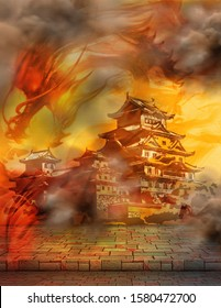 Chinese castle with clouds and red dragon