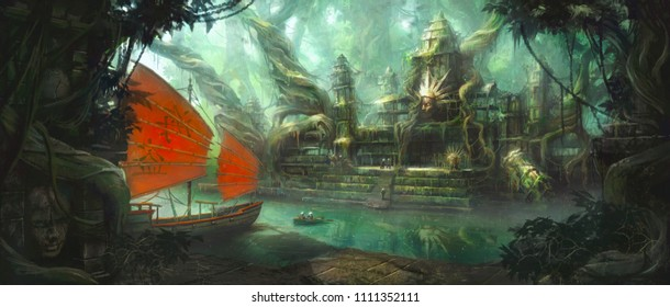 """Chinese characters on the boat read """"Pirate"""" - our crew have found a mysterious overgrown temple during their travels through the jungle."""