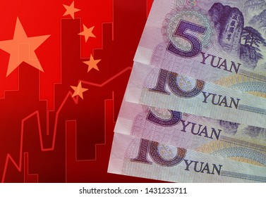 Chinese currency, China stock market, trading graph chart business growth finance money crisis economy and China flag