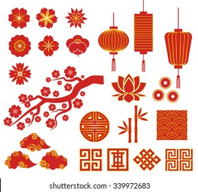 Chinese decorative icons for Chinese New Year
