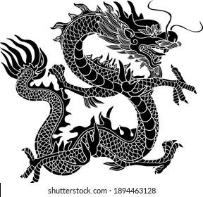 Chinese Dragon black flat icon isolated white background