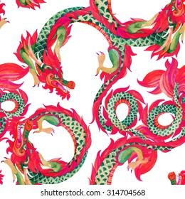 Chinese Dragon seamless pattern. Traditional symbol of dragon. Watercolor hand painted illustration on white background.