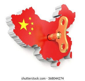 Chinese economic momentum concept with clockwork key and 3D chinese map
