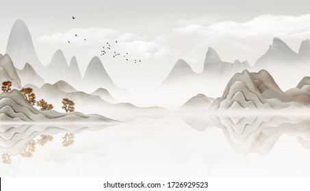 Chinese feng shui ink landscape painting