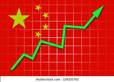 The Chinese flag and arrow graph going up