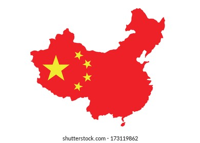Chinese flag on China map isolated on white background.
