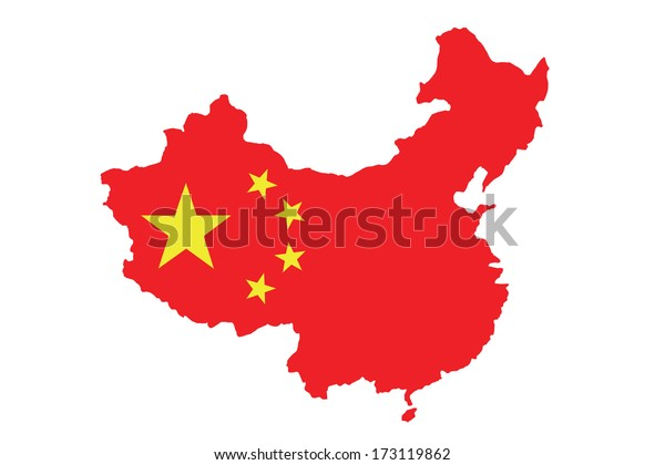 Chinese flag on China map isolated on white background.