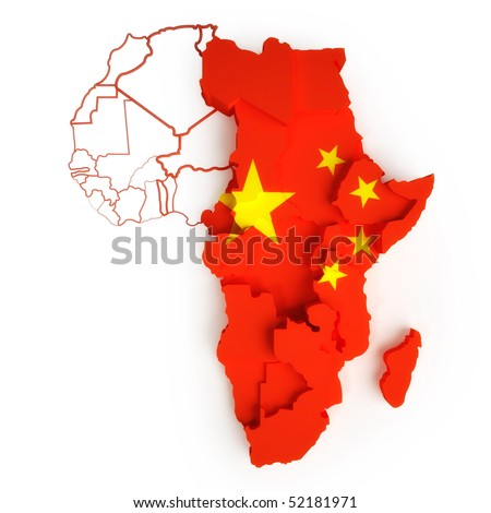 Flag Map Of Africa.Chinese Flag On Map Africa National Stock Illustration 52181971