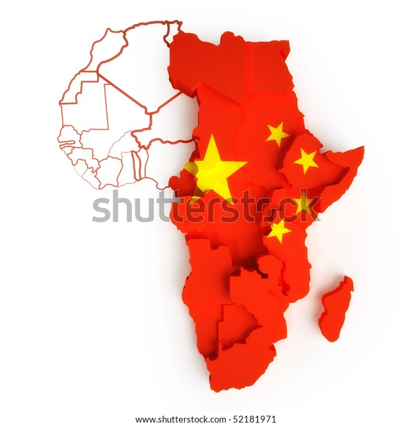 Chinese flag on map of Africa with national borders