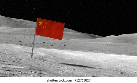 Chinese flag stuck in the rocky moon surface with stars and moonscape in the background 3D illustration