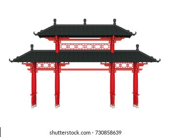 Chinese Gate Isolated. 3D rendering