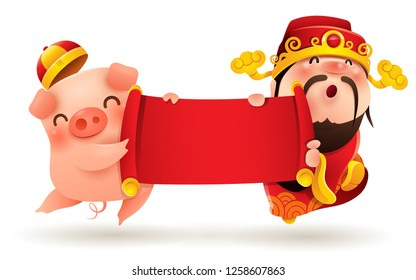 Chinese God of Wealth and Little Pig with blank scroll. Chinese New Year. The year of the pig.