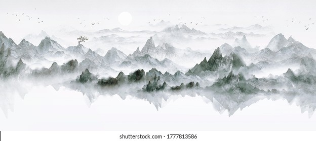 Chinese ink landscape painting with artistic conception of Chinese style