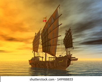 Chinese Junk Computer generated 3D illustration