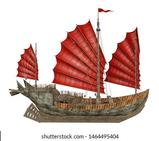 Chinese junk ship isolated on white background Computer generated 3D illustration