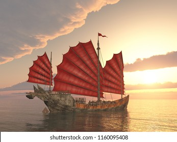 Chinese junk ship at sunset Computer generated 3D illustration