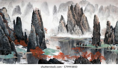 Chinese landscape misty mountains and water