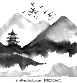 Chinese landscape with mountain, birds, river, trees, pagoda. Watercolor and ink illustration of nature, sumi-e or u-sin traditional painting.