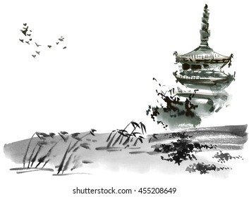 Chinese landscape with pagoda. Sumi-e, u-sin, gohua style. Hand made watercolor and ink painting.