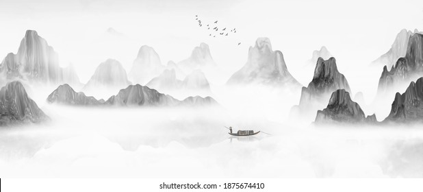 Chinese landscape painting with artistic conception of wind and ink