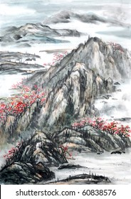 Chinese landscape painting. -Traditional ink and wash painting.