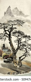 Chinese landscape with tree and house