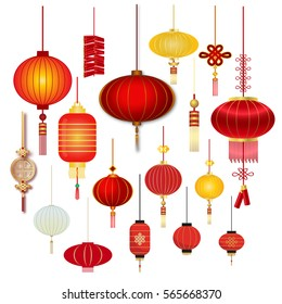 Chinese Lanterns Decoration colorful. set Chinese Lanters  isolated