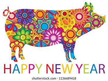 Chinese Lunar New Year 2019 Pig with spring flowers floral pattern and text isolated on white background illustration