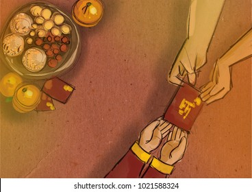 Chinese lunar new year flat lay traditional food with mandarin oranges and offering. family member hands giving red packet to toddler hands