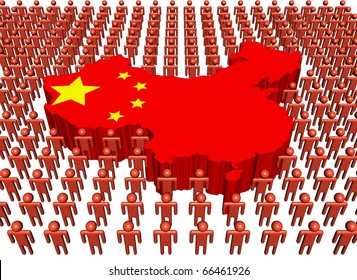 Chinese map flag surrounded by many abstract people illustration