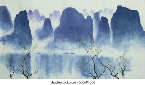 Chinese mountains, boats, water and fog