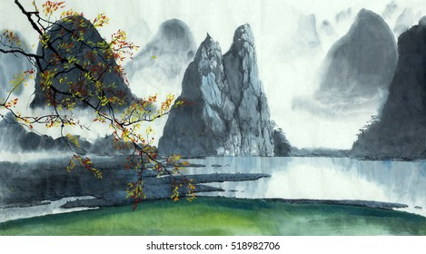 Chinese mountains, fog, autumn and lake
