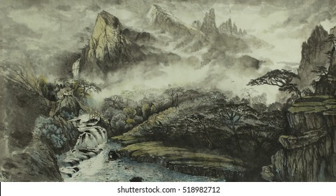 Chinese mountains, waterfall, fog, house