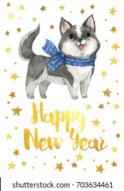 The Chinese new year 2018. Happy New Year  2018. Card with golden stars and watercolor Laika dog in white color with gray spots on white background.