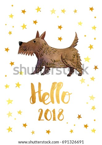 the chinese new year 2018 hello 2018 new year card with golden stars and
