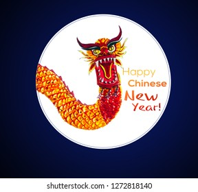 Chinese New Year card with hand sketched dragon