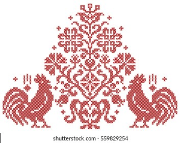 Chinese new year design. Year of Rooster. Minimalism. Red cross stitch.