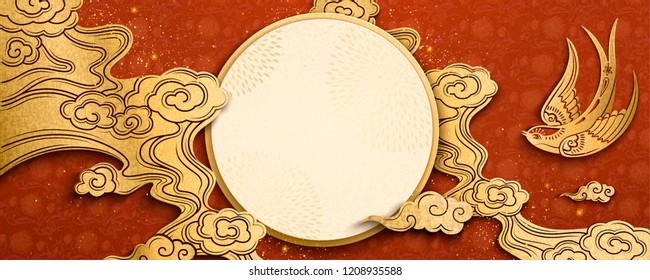 Chinese new year design with swallow and clouds in paper art style, round copy space for design uses