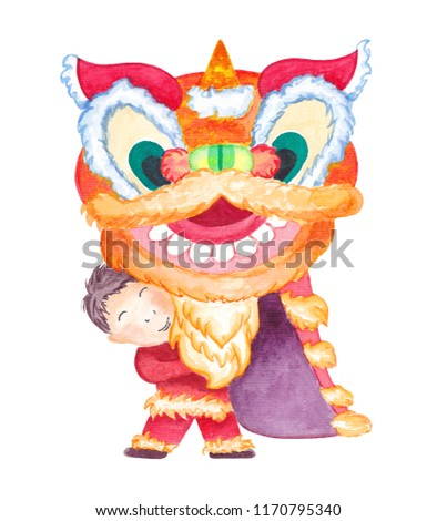 chinese new year dragon watercolor illustration