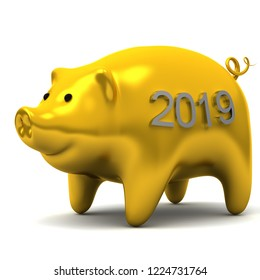 Chinese New Year - golden pig 2019, 3D illustration