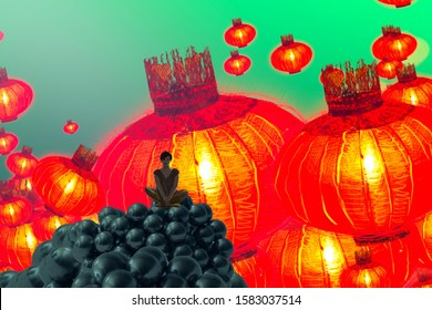 Chinese new year lampions. Imaginary world. Surreal alternative realm. Dreamlike abstract imaginary image. 2d illustration. Human standing on an edge.