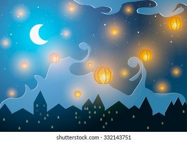 Chinese New Year. Lanterns on a night city.  - Shutterstock ID 332143751