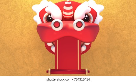 Chinese New Year lion mask and blank paper scroll. 3d rendering picture.