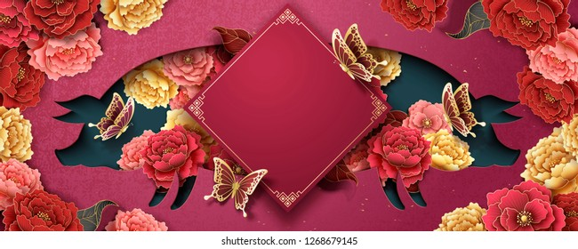 Chinese new year poster template with peony flowers and piggy shape hollow on fuchsia background