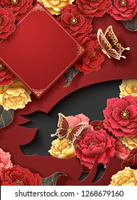 Chinese new year poster template with peony flowers and piggy shape hollow