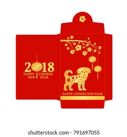 Chinese New Year red envelope flat icon.  Red packet with gold dog and lanterns.