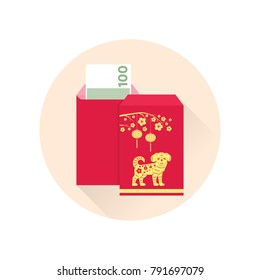 Chinese New Year red envelope flat icon.  Red packet with gold lanterns. Chinese new year design elements.