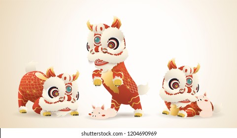Chinese new year symbol with lion dance and pig playing together